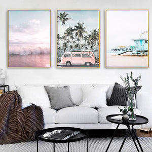 Pink VW Canvas Print - Burnt Spaces