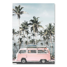 Load image into Gallery viewer, Pink VW Canvas Print - Burnt Spaces
