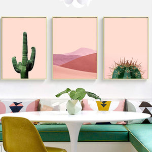 Cactus Head Pink Desert Prints - Burnt Spaces