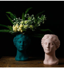 Venus Statue Head Vase Dark Green - Burnt Spaces
