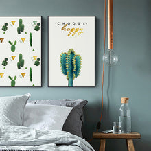 Load image into Gallery viewer, Choose Happy Cactus Canvas Print - Burnt Spaces