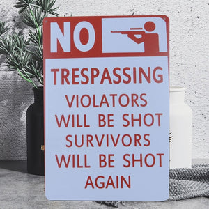 "Funny Vintage ""Violators Will Be Shot"" Tin Poster Sign - Burnt Spaces"