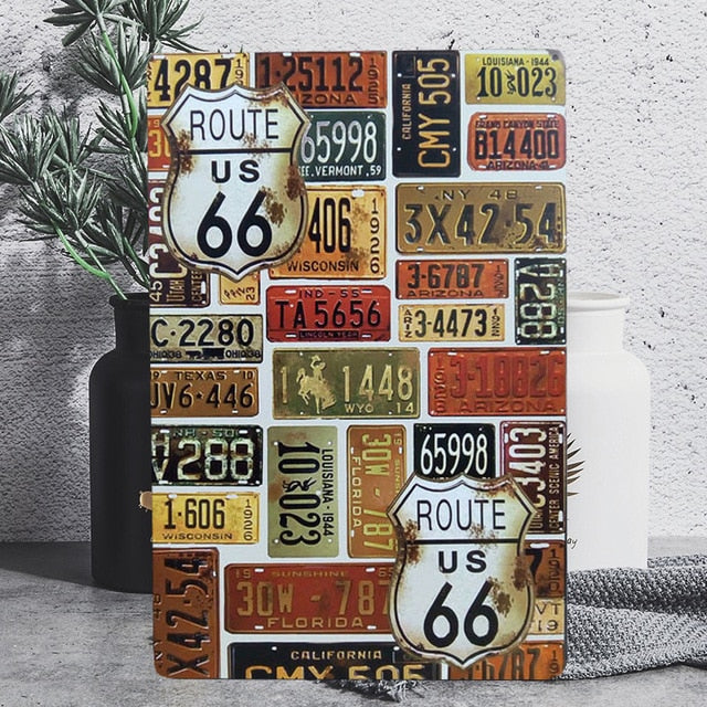 Vintage Route 66 Tin Poster Sign - Burnt Spaces