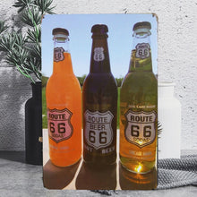 Load image into Gallery viewer, Vintage Route 66 Beer Bottle Tin Poster Sign - Burnt Spaces