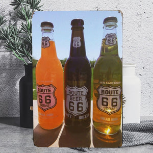 Vintage Route 66 Beer Bottle Tin Poster Sign - Burnt Spaces