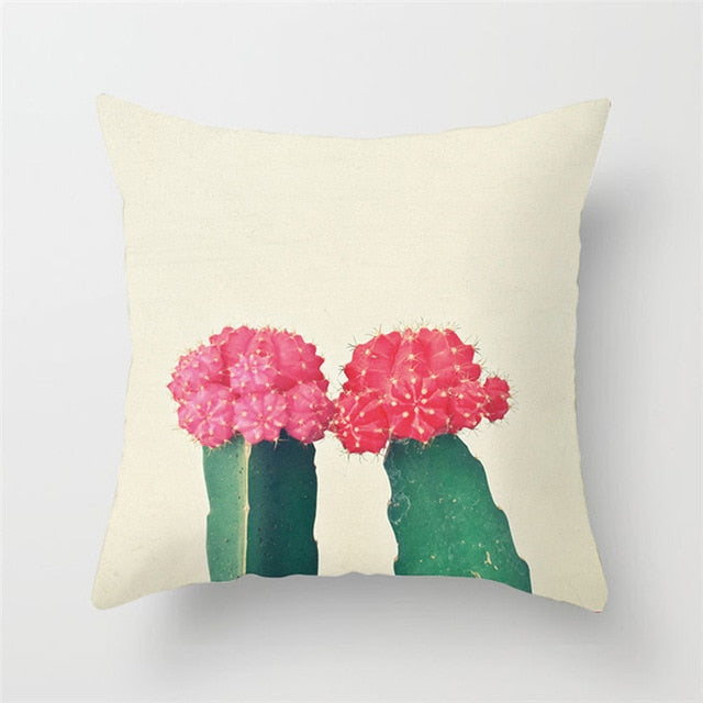 Green and Pink Cacti Cushion Cover