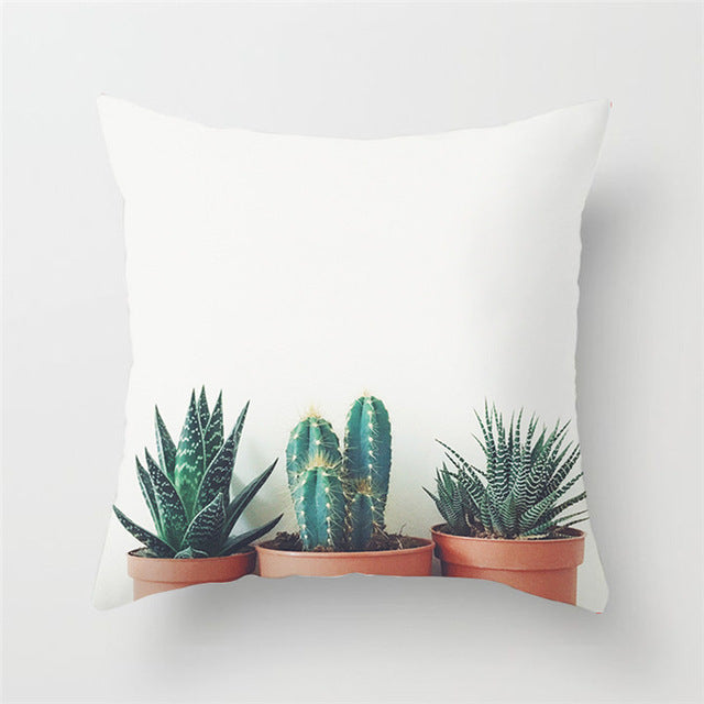 Contemporary Potted Cacti Cushion Cover
