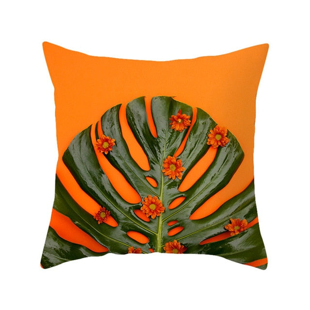 Budding Orange and Green Tropical Leaf Cushion Cover - Burnt Spaces