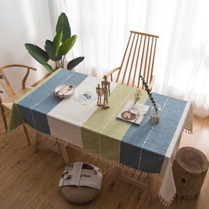 Embroidered Grid Stitching Table Cover - Burnt Spaces