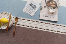 Load image into Gallery viewer, Brown/Blue Embroidered Stitching Table Cover - Burnt Spaces