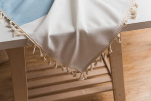 Brown/Blue Embroidered Stitching Table Cover - Burnt Spaces