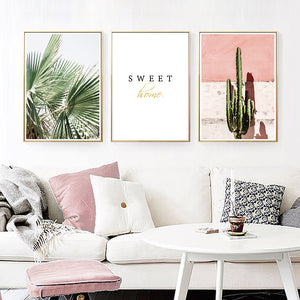 Pink Set Cactus Canvas Print - Burnt Spaces