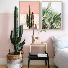 Load image into Gallery viewer, Pink Set Cactus Canvas Print - Burnt Spaces