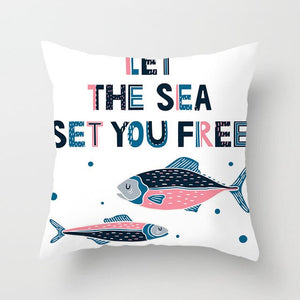 Let The Sea Set You Free Retro Cushion Cover