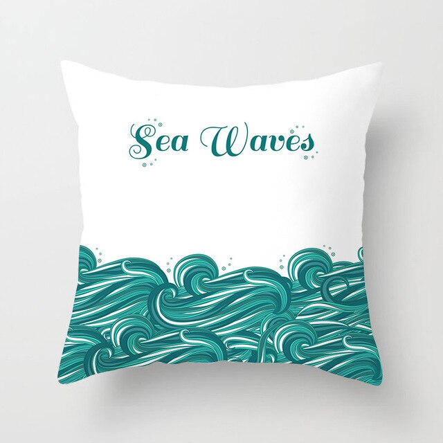 Sea Waves Aqua Cushion Cover - Burnt Spaces