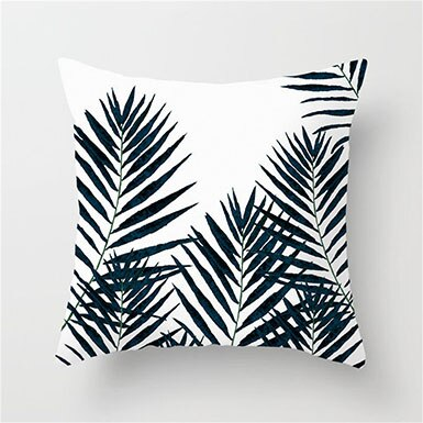 Black and White Palm Leaves Cushion Cover