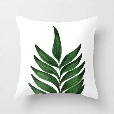 Tropical Painted Leaf Cushion Cover