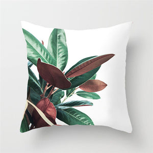 Tropical Leaves Two Tone Cushion Cover
