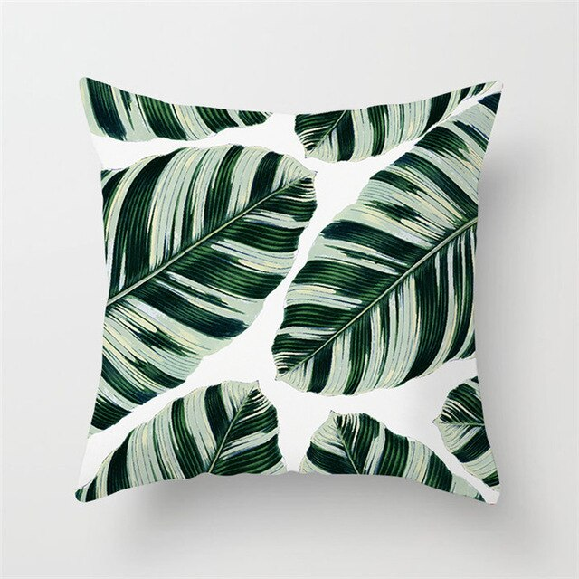 Tropical Leaves Print Cushion Cover - Burnt Spaces