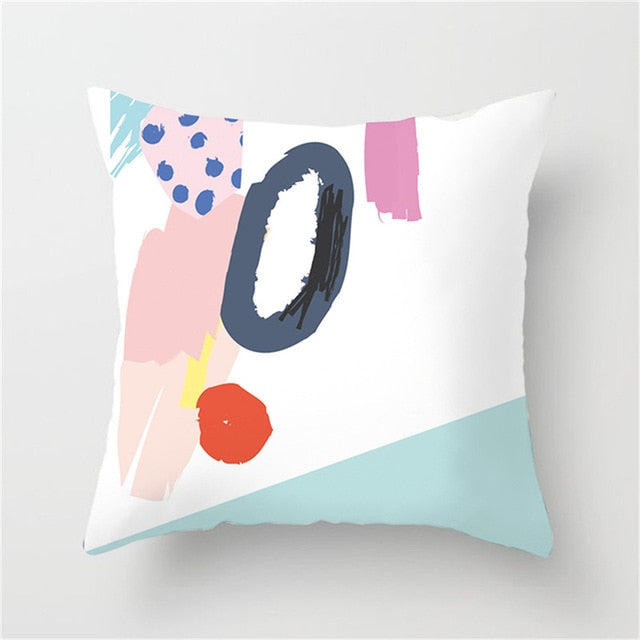 Abstract Dotted Pink and Green Cushion Cover - Burnt Spaces