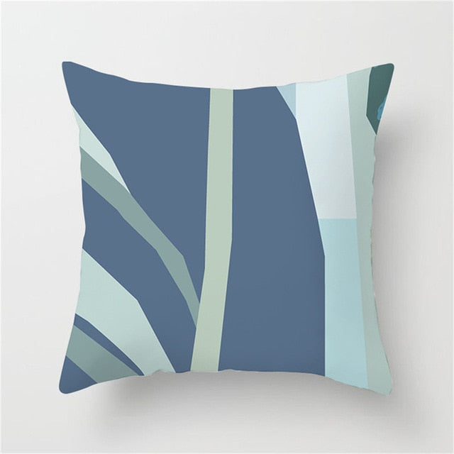 Abstract Blue and Green Tonal Cushion Cover