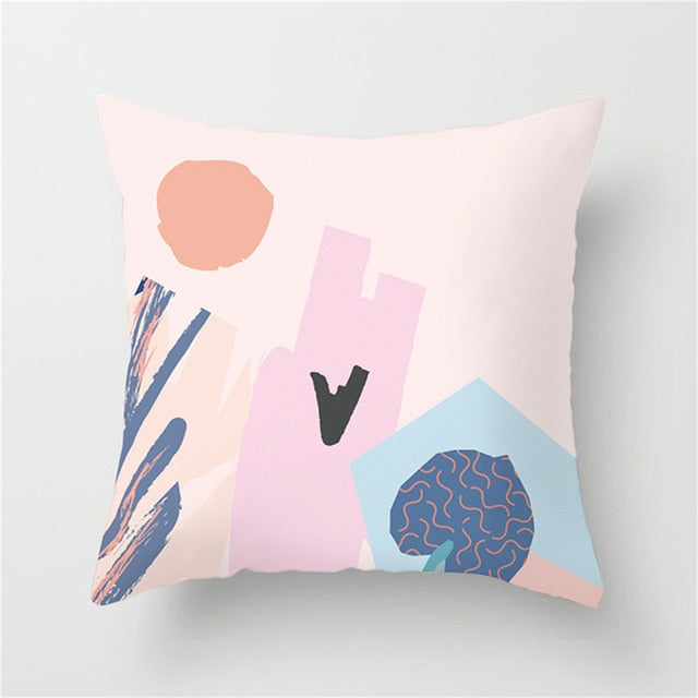 Artistic Pink and Blue Tonal Cushion Cover
