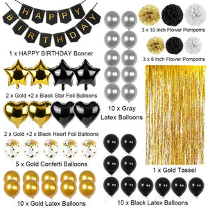 Black Gold Happy Birthday 51Pcs Set - Burnt Spaces