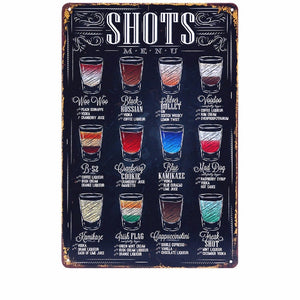 Shots Menu Vintage Tin Poster Sign - Burnt Spaces