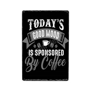 """Sponsored By Coffee""  Vintage Tin Poster Sign - Burnt Spaces"
