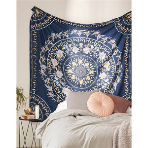 Floral Mandala Tapestry Deep Blue - Burnt Spaces