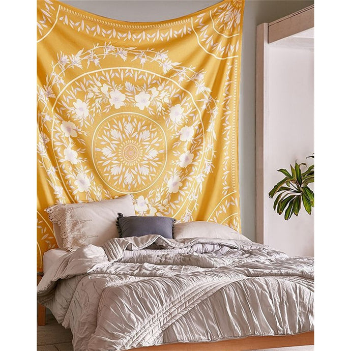 Floral Mandala Tapestry Yellow - Burnt Spaces