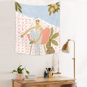 Hand Illustrated Woman Tapestry