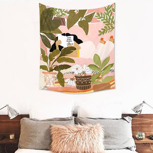 Hand Drawn Plant Illustration Tapestry