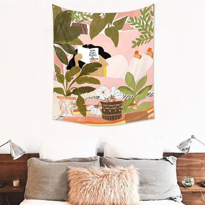 Hand Drawn Plant Illustration Tapestry - Burnt Spaces