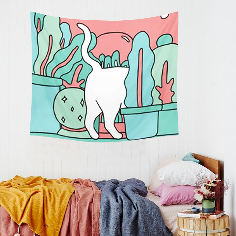 Cute Cat Back Illustration Tapestry