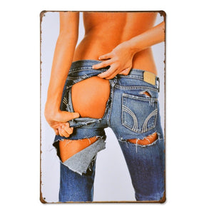 Ripped Jeans  Vintage Tin Poster - Burnt Spaces
