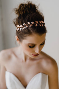 Rose Gold Leaf Bridal Headband