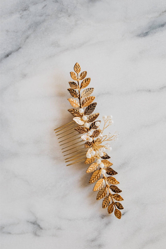 Gold Bridal Leaf Comb