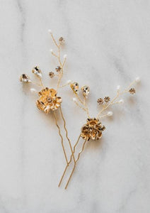 Gold Leaf Bridal Hair Pin