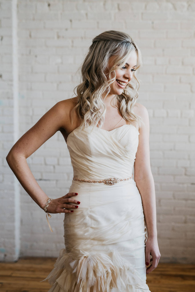 Thin Rose Gold Bridal Sash