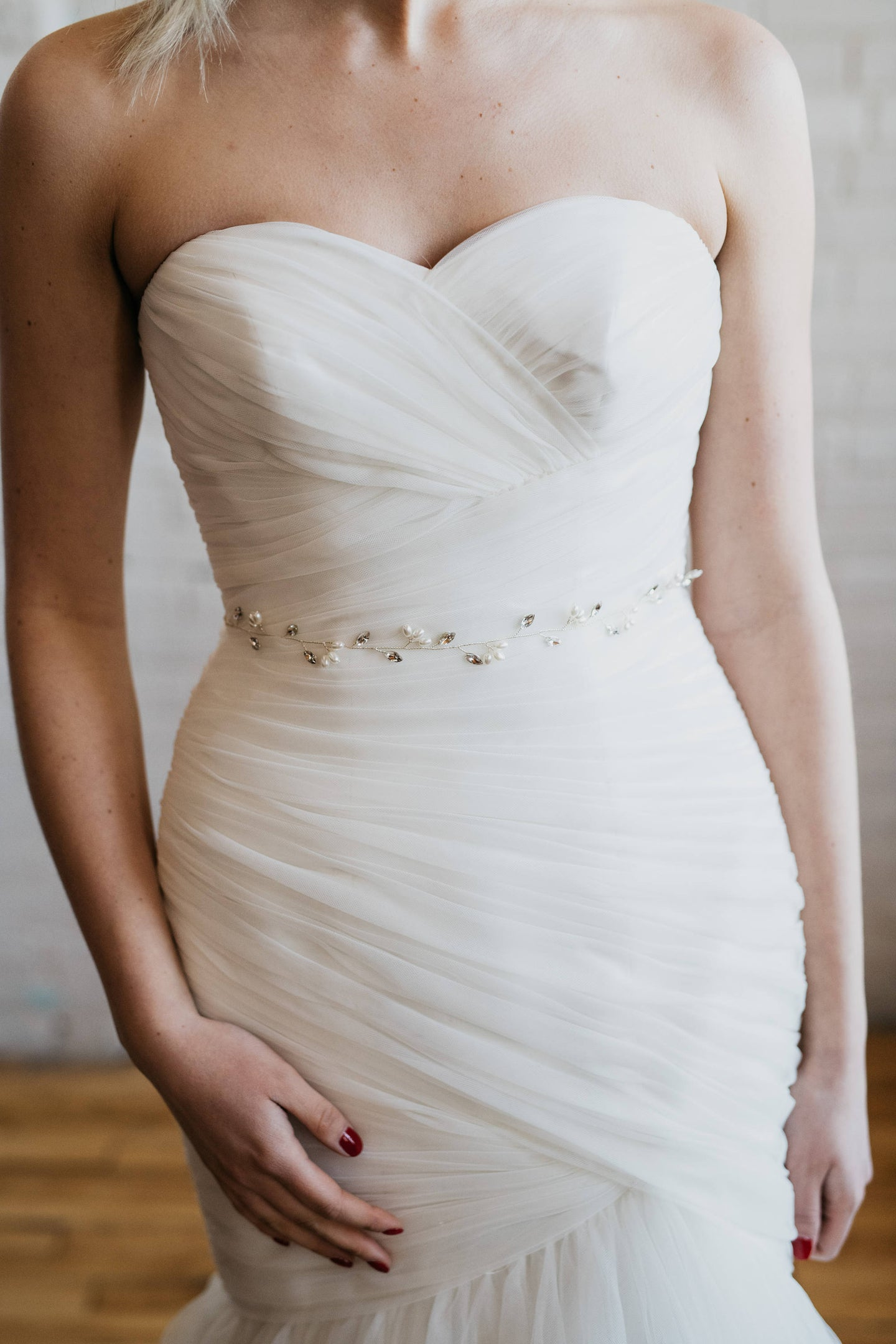 Thin Rhinestone and Pearl Bridal Sash