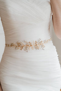 Gold Leaf Vine Sash