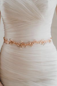 Rose Gold Leaf Bridal Belt