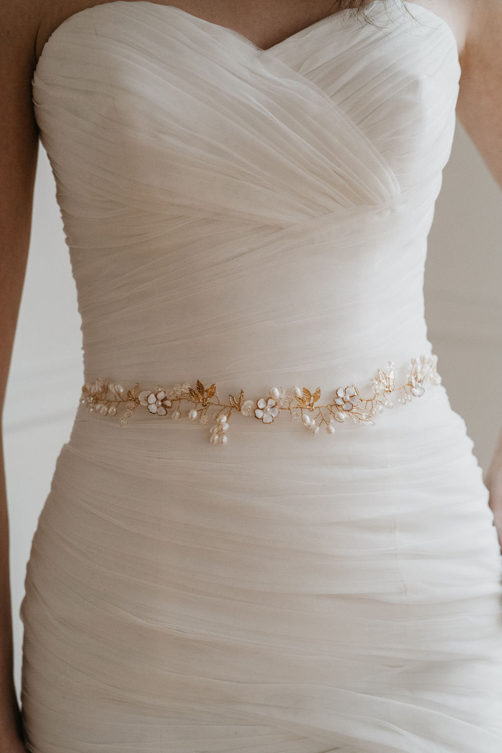 Gold Leaf Bridal Belt Sash