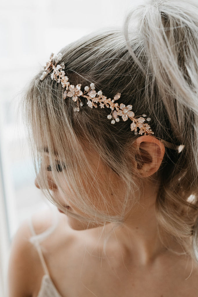 Rose Gold Bridal Hair Vine