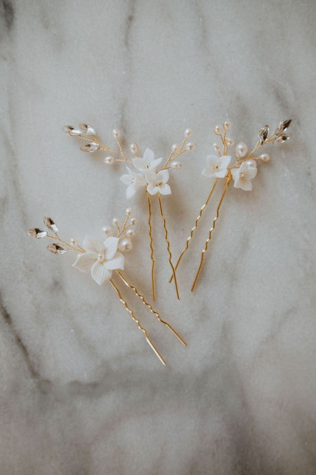 Gold Clay Flower Hairpins