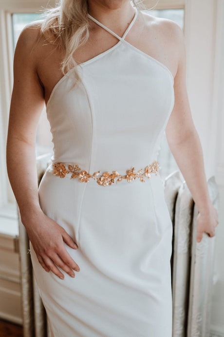 Gold Flower Bridal Sash