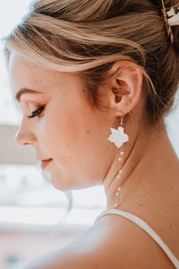 Gold Clay Flower Bridal Earrings