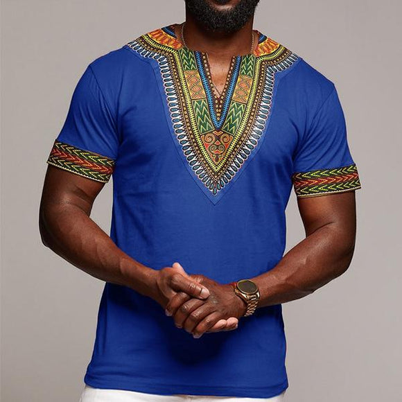Men's V-neck Print African Ethnic Style T-shirt