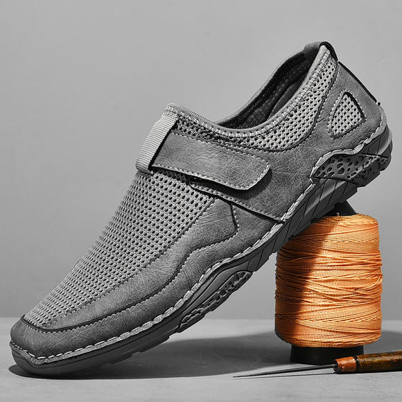 Shawbest-New Men's Leather Mesh Stitching Shoes